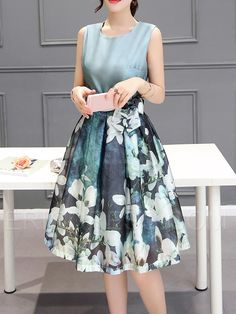 Ericdress Flower Print Patchwork Lace-Up Casual Dress Casual Dresses