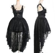 Korset Gothic Punk Rave Kleid schwarz asymeertrisch Abendkleid Träger Kleider in Kleidung & Accessoires, Damenmode, Kleider | eBay