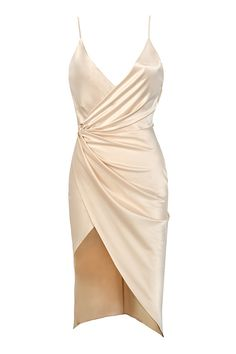 Clothing : Bodycon Dresses : 'Coco' Nude Satin Drape Back Dress