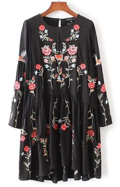 Specifications: Waistline:Natural Decoration:Embroidery Sleeve Style:Regular Style:Casual Material:Cotton,Polyester - Dresses Length:Above Knee, Mini Neckline:O-Neck Silhouette:A-Line Sleeve Length:Fu