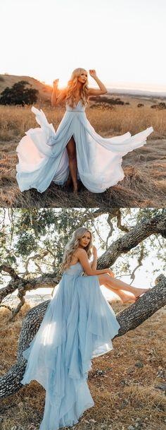 Chiffon Prom Dresses, Spaghetti Straps Prom Dresses, V-Neck Prom Dresses #okbridal#promdress