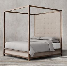 RH's Montrose Tufted High Panel Canopy Bed:Inspired by the streamlined glamour of the late century, our four-poster bed pairs a sleek, bronze-finish metal frame with a tufted headboard for a clean, angular silhouette. Bedding Master Bedroom, Home Bedroom, Bedroom Decor, Bedrooms, Bedroom Lighting, Bedroom Furniture, Home Furniture, Upholstered Furniture, Furniture Ideas
