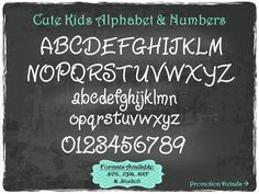Cute Kids Alphabet and Numbers in .SVG .EPS .DXF & .Studio3 formats Craft Cut Die Cutters Digital Vector Files Instant Download by TheSVGFontStore on Etsy