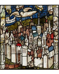 An Angel Announces the Fall of Babylon (Rev Great East Window, York Minster, England, John Thornton, - restored by York Glaziers Trust Wine Bottle Wall, Bottle Art, Wine Bottles, Stained Glass Angel, Stained Glass Windows, York Minster, Glass Wall Art, Window Art, Glass Panels