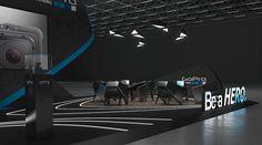 "GoPro - Design concept for exhibition stand   125 sq.m, 4 sides open. Las Vegas, Nevada Design by: ""GM stand design"" Designer: Roman Geviuk"