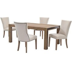 The Pinot/Riverdale 5-Piece Formal Dining Set completes your dining room with a natural, distressed finish. The table is constructed from solid acacia wood, with exposed bolts and metal accents for a unique industrial touch. The four side chairs, with linen blend upholstery and tapered wooden legs, add rustic features.