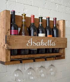 Wine Rack Wall Hanging Personalized Gift Family Name Wood Wood Wine Holder, Wine Rack Wall, Wood Wine Racks, Wine Glass Holder, Cork Holder, Wine Rack Design, Diy Rack, Personalized Wine, Italian Wine