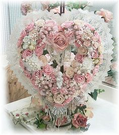 Very #shabby flowers & lace heart
