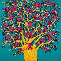 'The Tree of Monkeys'. Keith Haring. 1984. … #keithharing #80sicons #80spattern #80sculture #80sclassic #80scult #80sart #retroart #80sgraphics #80scolors