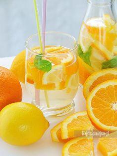 Lemoniada pomarańczowa z miętą, lemoniada pomarańczowa, pomarańcze, lemoniada, http://najsmaczniejsze.pl, #food #drink #napój #lemoniada #arbuz