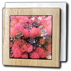Pink, feathery blossoms on a spring plant with bits of purple Tile Napkin Holder