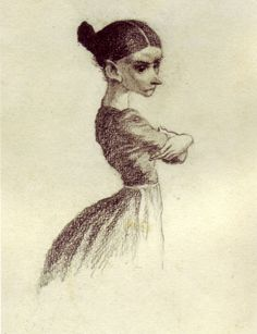 Detail of a drawing by Mervyn Peake of 'Miss Judy Smallweed;' intended as an illustration for an edition of 'Bleak House.'