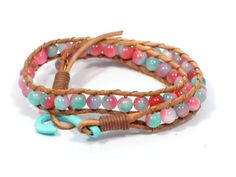turquoise beaded bracelet * wrap leather bracelet * colorful bracelet * fish hook bracelet * women bracelet * beaded jewelry * red turquoise by CozyDetailz on Etsy