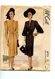 1940s Dress Pattern McCall 6715 Bust 30 Day by VioletCrownEmporium, $40.00