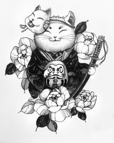 Chronic Ink tattoo Cindy asianstyle tattoo Lucky fat cat is part of Lotus tattoos Foot Stars - Lotus tattoos Foot Stars Kawaii Tattoo, Body Art Tattoos, Sketches, Samurai Tattoo, Japanese Tattoo Designs, Lucky Cat Tattoo, Art, Ink Tattoo, Japanese Tattoo