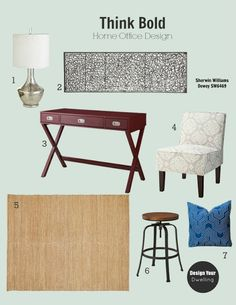 Design to Go!  Home office mood board. ($25 for design board + source list)