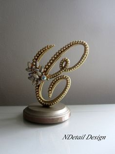 Wedding Cake Topper Monogram Letter C in Gold by NDetailDesign, $110.99