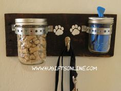 Rustic Dog Leash Holder with Treat Jar and Poopie Bag Dispenser. Keeps your pets essentials right by the door when you are ready to go. By 4UGIFTSONLINE