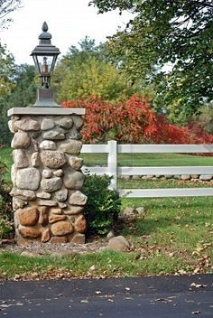 Stone Pillar Private Entrance Stock Photo (Edit Now) 18950947 stone driveway columns Rock Driveway, Driveway Entrance Landscaping, Driveway Gate, Home Landscaping, Farmhouse Landscaping, Front Gates, Front Yard Fence, Entrance Gates, Entrance Design