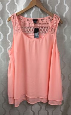 50821f7e082 Torrid Layered Chiffon Crochet Inset Top Plus Size 2 (2X) 18 20 Lightweight