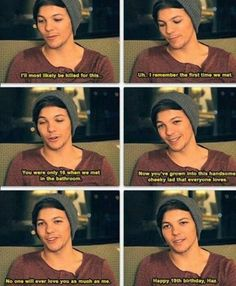 OH MY BALLS.THIS IS LIKE...A SHOCKER.I KNEW THEY MET IN THE BATHROOM BUT...WHOA.IM NOT A LARRY SHIPPER BUT...IT LIKE BLEW ME AWAY.. Louis Tomlinson, Niall Horan, Birthday Message, Relationship, 1direction, Feels, Heart, Friendship, 19th Birthday