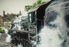 Car Portraits, Classic Transport, Railway Art and Botanical Art Steam Locomotive, North Yorkshire, My Face Book, Botanical Art, Transportation, Paintings, Oil, Facebook, Website