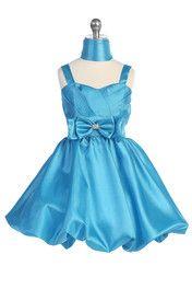 Click to enlarge : Turquoise Shimmer Taffeta Sweetheart Bubbled Hem Short Flower Girl Dress G3301-TQ