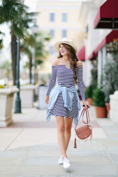 cute sporty outfit - stripes and white keds