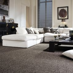 Dark Grey Carpet Living Room GREY, PINK & GREEN Encapsulating one of the hottest trends appropriate now – blush and blooming – this Dark Grey Carpet Living Room, Dark Carpet, Living Room Grey, Living Room Decor, Cheap Carpet, Green Carpet, Black Carpet Bedroom, Bedroom Carpet Colors, Modern Interiors
