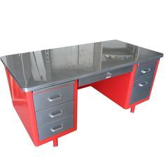 Steelcase Vintage Steel Tanker Desk Stainless