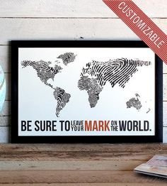 Fingerprint World Map Print | Art Prints & Posters | The Oyster's Pearl | Scoutmob Shoppe | Product Detail