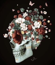 """Stop fearing death, or you will die of fear"" Frida Art, Skeleton Art, Skull Wallpaper, Medical Art, Sugar Skull Art, Skulls And Roses, Flower Skull, Anatomy Art, Motif Floral"