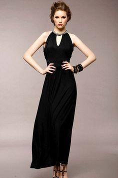Ankle Length Black Dress - KD Dress