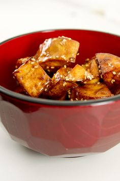 """Daigaku Imo - Japanese Honey Glazed Sweet Potatoes looks good. from """"norecipes - make good food better"""" blog. This recipe was inspired by the writers visit to Kappabashi, Tokyo's kitchenware district. They came from a little stand near Sensoji Temple with a line going around the block."""
