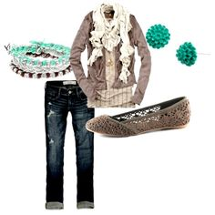 cute outfit :) love the neutral with the pop of turquoise!