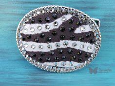 Zebra Belt Buckle, Exotic Belt Buckle, Black and White Belt Buckle, Swarovski Crystals Belt Buckle, Bling Belt Buckle, tammydee