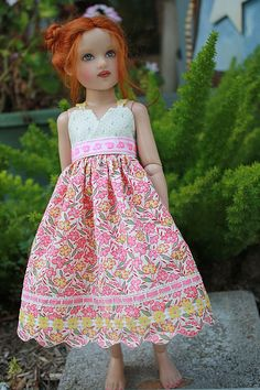 Carol Pringle - Beautiful Doll Clothing -- Floral Dress on Helen Kish doll Farmhouse Fabric, Lovely Dresses, Beautiful Dolls, Her Style, Doll Clothes, Kids Outfits, Dolls Dolls, Kids Clothing, Sewing Ideas