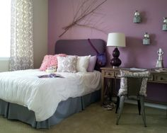 best paint color for walls with purple | Purple Paint Color And Purple Headboard As Teenage Girls Room Paint ...