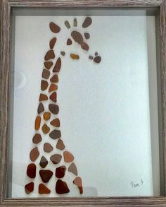 Genuine Sea Glass Giraffe Picture Placed inside a 9X11 inch glassed shadow box frame. Perfect gift. Who doesnt love a Giraffe? Thank you ❤️ for looking! To visit my shop go to: https://www.etsy.com/shop/LifeCreationDesign?ref=hdr_shop_menu