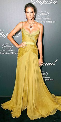 ALESSANDRA AMBRÓSIO mustard yellow silk chiffon gown