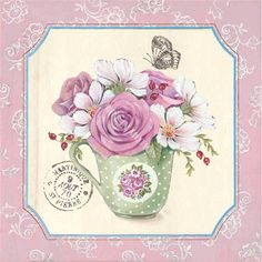 Cadres et encadrement Carte d'art Shabby chic les roses dans la tasse