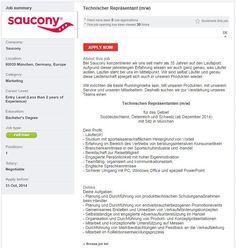 Saucony sucht einen Technischen Repräsentanten in München