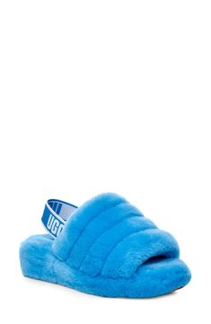 Women's Ugg Fluff Yeah Genuine Shearling Slipper, Size 11 M - Blue Blue Slippers, Ugg Slippers, Womens Slippers, Crocs Shoes, Ugg Shoes, Shoe Boots, Cute Uggs, Fluffy Shoes, Ugg Neumel