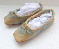 Tiny Pale Blue Slippers For Huret c1860's