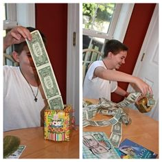 """Old tissue box wrapped with Birthday wrapping paper and a birthday cake sticker on the side! Taped 30 one dollar bills together with a card that said """"Don't blow it all at once!"""" Great for a teenager who just wants money!"""