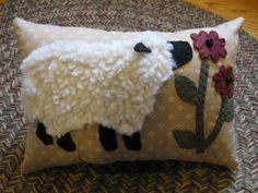 Penny Rug Sheep PillowWooly Lamb Smelling Daisies by Justplainfolk