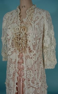 Antique Dress - c. 1900 - 1913 Victorian / Edwardian Irish Crochet Over Coat