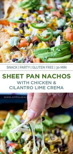 Sheet Pan Chicken Nachos are the absolute perfect crowd-pleaser! This easy 20 Minute recipe is loaded with all your favorite nacho toppings and then drizzled with a yogurt cilantro lime crema. They are absolutely delicious and so easy to put together - guaranteed to be a hit. Easy To Make Appetizers, Recipes Appetizers And Snacks, Appetizer Ideas, Easy Appetizer Recipes, Dip Recipes, Free Recipes, Snack Recipes, Dinner Recipes, Chicken Nachos Recipe