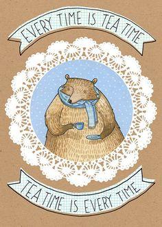 Tee Time - Karte - Tee Liebhaber tragen Winter Schal kalt braun blau Aquarell Abbildung Hannakin Polka Dot Gebru trinken Teetasse Untertass...