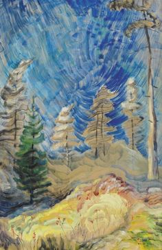 View Frivolous September ~ Up the Gorge (Blue Sky and Forest) (Circa By Emily Carr; oil on paper on board; Access more artwork lots and estimated & realized auction prices on MutualArt. Tom Thomson, Canadian Painters, Canadian Artists, Emily Carr Paintings, Post Impressionism, Watercolor Trees, Impressionist Paintings, Tree Art, Landscape Art